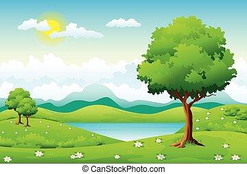 été, fleurs, paysage, arbres