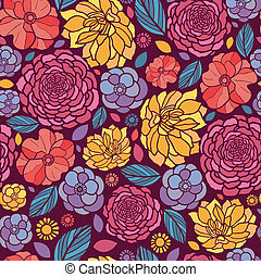 été, fleurs, seamless, modèle fond