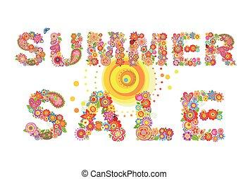 été, fleurs, vente, coloré