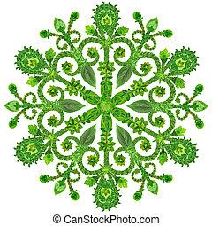été, fleurs, vert, flocon de neige