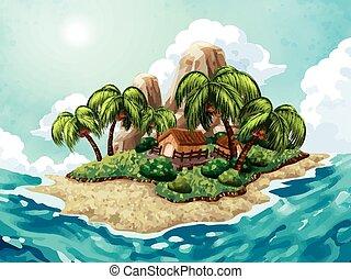 été, fond, île