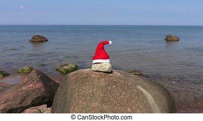 été, fond, claus, santa, mer, chapeau, jour