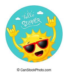 été, fond, heureux, soleil, dessin animé