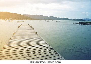 été, fond, pont, vendange, bois, mer, paradis