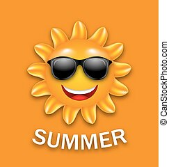 été, frais, lunettes soleil, heureux, soleil
