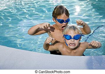 été, garçons, amusement, mare jouant, natation