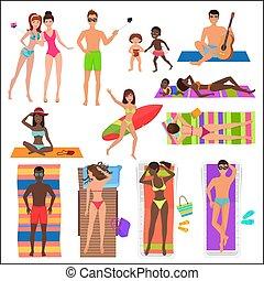 été, gens, collection., relaxing., océan, fetes, actif, vacances, activité, amusement, sport, plage