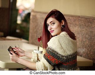 été, girl, café, joyeux, tablette