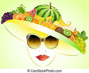 été, girl, fruits