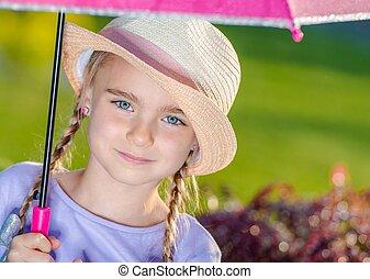 été, girl, jour pluvieux