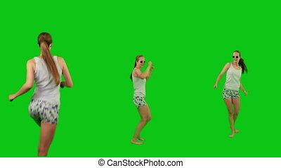 été, girl, lunettes soleil, danse