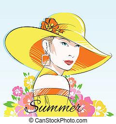 été, girl, mode, chapeau, jaune