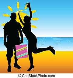 été, girl, plage, homme
