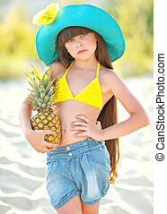 été, girl, plage, portrait
