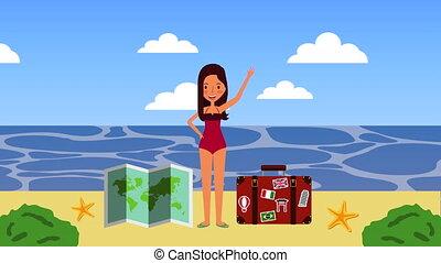 été, girl, vacances plage, temps