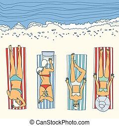 été, girl, vecteur, plage, bains de soleil