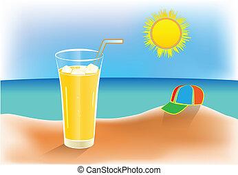 été, glacé, jour chaud, jus