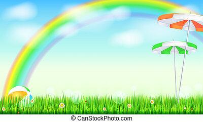 été, gonflable, clouds., paysage, bleu, arc-en-ciel, coccinelles, ciel, fleurs, arrière-plan., field., au-dessus, balle, 3d, parapluie, grand, illustration, solaire, coloré, vert, pâquerette, herbe, toile de fond