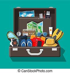 été, grand, voyage, vacances, vacances, tourisme, set.
