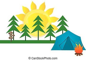 été, graphique, camping