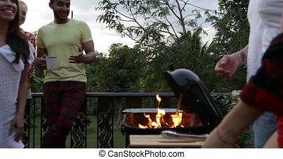 été, groupe, gens, communication, terrasse, tropique, barbecue, fête, amis, avoir