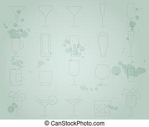 été, grunge, cocktail, moderne, icons., cocktails, vecteur, conception, glace, fond, fête, frais, ligne, bar.