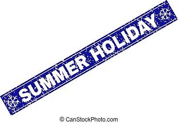 été, grunge, flocons neige, timbre, cachet, vacances, rectangle