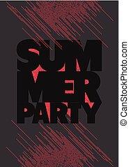 été, grunge, illustration., affiche, typographique, vecteur, fête, design.