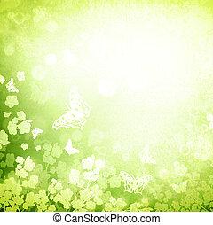été, grunge, printemps, arrière-plan vert, ou