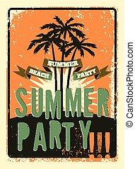 été, grunge, typographique, ret, fête