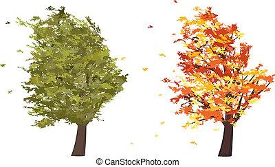 été, grunge, wind., arbre, automne, vecteur