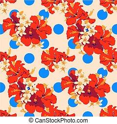 été, hawaien, à, modèle, feuilles, seamless, exotique, flowers., paume