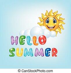 été, heureux, dessin animé, fond, soleil
