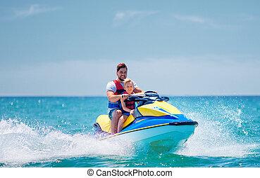 été, heureux, jet, excité, famille, père, vacances, fils, amusement, ski, avoir