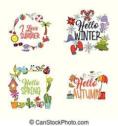 été, hiver, printemps, automne, temps, saison