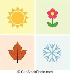 été, hiver, quatre, printemps, automne, saisons, calendrier