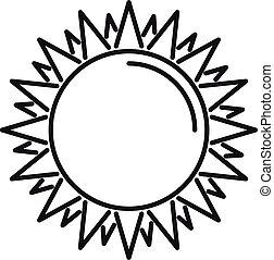 été, icône, soleil, style, contour