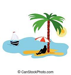 été, idylle, arbre, illustration, vecteur, paume, mer, plage