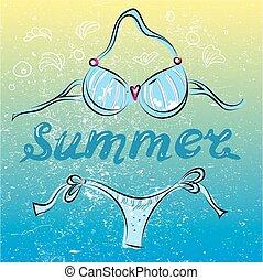 été, illustration, bikini, vecteur, complet, plage, natation