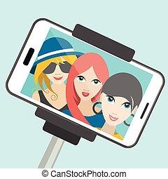 été, illustration., filles, selfie, photo., trois, confection, dessin animé