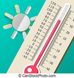 été, illustration., plat, day., chaud, vecteur, sun., thermomètre, conception