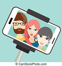 été, illustration., selfie, photo., trois, fabrication amis,...
