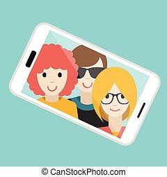 été, illustration., selfie, photo., trois, vecteur, fabrication amis, dessin animé