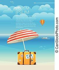été, illustration., texte, bord mer, vacances, gabarit