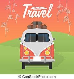 été, illustration., vacation., campeur, vecteur, van.