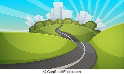 été, illustration., ville, paysage., colline, dessin animé, route