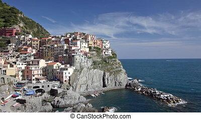 été, italie, pittoresque, ensoleillé, laguria, manarola, jour, vue