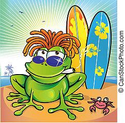 été, jamaïquain, grenouille