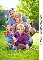 été, jardin, amusement famille, avoir, heureux