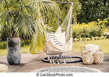 été, jardin, arbre, terrace., hamac, vert, paume